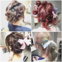 ガーリー ミディアム ヘアアレンジ フェミニン ヘアスタイルや髪型の写真・画像