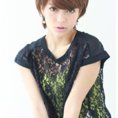 ショート モテ髪 フェミニン コンサバ ヘアスタイルや髪型の写真・画像