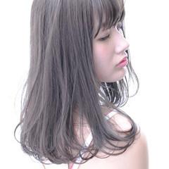 ロング 大人かわいい 黒髪 アッシュ ヘアスタイルや髪型の写真・画像
