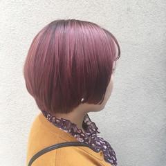 ブリーチ ショート ショートボブ ピンク ヘアスタイルや髪型の写真・画像