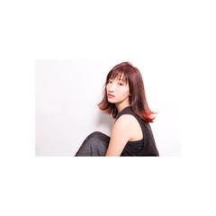 グラデーションカラー セミロング デート スポーツ ヘアスタイルや髪型の写真・画像