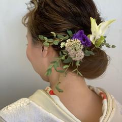 ナチュラル 結婚式ヘアアレンジ ミディアム ハイライト ヘアスタイルや髪型の写真・画像