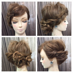 ロープ編み ヘアアレンジ 編み込み セミロング ヘアスタイルや髪型の写真・画像