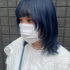 ブルー ストリート ウルフカット ネイビーブルー ヘアスタイルや髪型の写真・画像