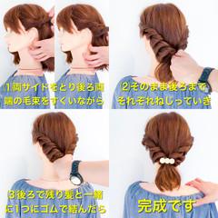 簡単ヘアアレンジ ショート フェミニン ヘアアレンジ ヘアスタイルや髪型の写真・画像