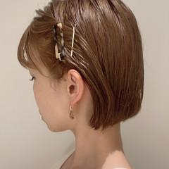 ヘアアレンジ 切りっぱなしボブ ナチュラル ミニボブ ヘアスタイルや髪型の写真・画像