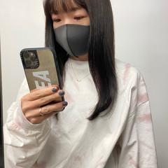 韓国ヘア セミロング ラベンダーカラー ラベンダーグレー ヘアスタイルや髪型の写真・画像
