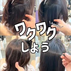 グレージュ ブリーチなし 縮毛矯正 ナチュラル ヘアスタイルや髪型の写真・画像