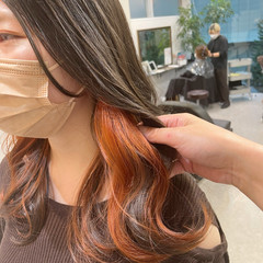 ロング イヤリングカラー オレンジ エレガント ヘアスタイルや髪型の写真・画像