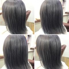 シルバーアッシュ 外国人風 ボブ ダブルカラー ヘアスタイルや髪型の写真・画像