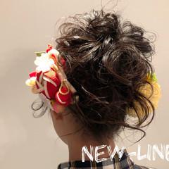 成人式 ヘアアレンジ パーティヘア セミロング ヘアスタイルや髪型の写真・画像