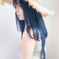 ブルーブラック ブルーアッシュ ナチュラル セミロング ヘアスタイルや髪型の写真・画像