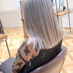 ハイトーン セミロング うる艶カラー 艶髪 ヘアスタイルや髪型の写真・画像