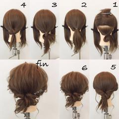 簡単ヘアアレンジ ミディアム ナチュラル 大人女子 ヘアスタイルや髪型の写真・画像