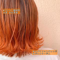 バレイヤージュ グラデーションカラー ナチュラル ショートヘア ヘアスタイルや髪型の写真・画像