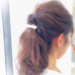 くるりんぱ 編み込み セミロング ナチュラル ヘアスタイルや髪型の写真・画像