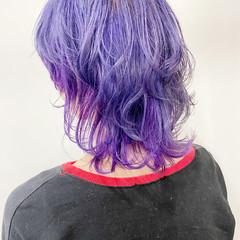 ウルフカット ミディアム パープルカラー ネオウルフ ヘアスタイルや髪型の写真・画像