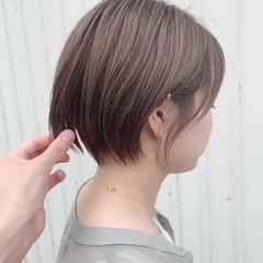 ショート グレージュ ナチュラル 丸みショート ヘアスタイルや髪型の写真・画像