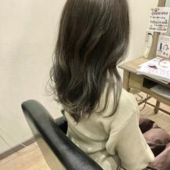 ダブルカラー グラデーションカラー ブルーアッシュ セミロング ヘアスタイルや髪型の写真・画像