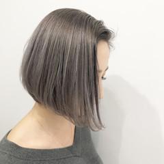 外国人風カラー ボブ ラベンダーアッシュ アッシュ ヘアスタイルや髪型の写真・画像