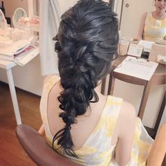 編み込み デート ロング ナチュラル ヘアスタイルや髪型の写真・画像
