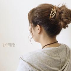 大人かわいい 簡単ヘアアレンジ イルミナカラー セミロング ヘアスタイルや髪型の写真・画像