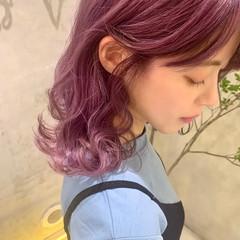 ピンクラベンダー ラベンダーピンク ピンクパープル ガーリー ヘアスタイルや髪型の写真・画像