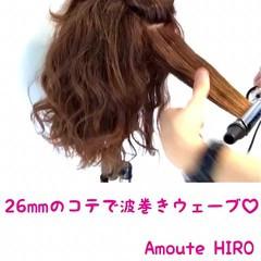 巻き髪 ヘアアレンジ 波ウェーブ ミディアム ヘアスタイルや髪型の写真・画像