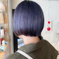 パープルカラー 透明感カラー アッシュグレージュ ボブ ヘアスタイルや髪型の写真・画像