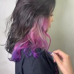 インナーカラー 髪質改善 セミロング ユニコーンカラー ヘアスタイルや髪型の写真・画像