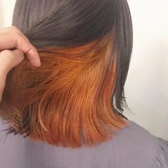 アプリコットオレンジ 切りっぱなしボブ ミニボブ オレンジ ヘアスタイルや髪型の写真・画像