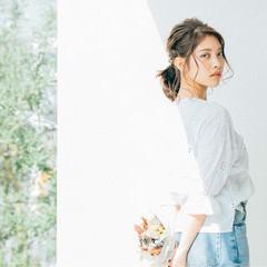 ヘアアレンジ ミディアム リラックス フェミニン ヘアスタイルや髪型の写真・画像