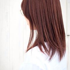 ラベンダーピンク ピンクラベンダー 暖色 セミロング ヘアスタイルや髪型の写真・画像