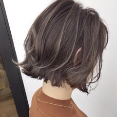 外国人風 ナチュラル バレイヤージュ ボブ ヘアスタイルや髪型の写真・画像