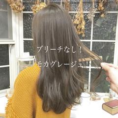 ブリーチなし ベージュ グレージュ ヘアカラー ヘアスタイルや髪型の写真・画像