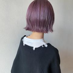 ハイトーンボブ ラベンダーピンク ボブ ハイトーンカラー ヘアスタイルや髪型の写真・画像