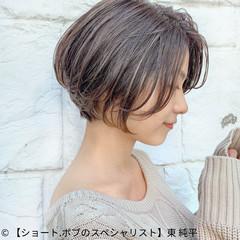 ショートボブ グレージュ ミニボブ ナチュラル ヘアスタイルや髪型の写真・画像