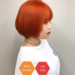 アディクシーカラー ストリート ショート オレンジカラー ヘアスタイルや髪型の写真・画像