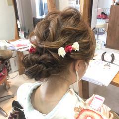成人式 ヘアアレンジ シニヨン セミロング ヘアスタイルや髪型の写真・画像