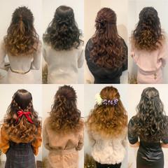 ハーフアップ 編み込み ヘアアレンジ フェミニン ヘアスタイルや髪型の写真・画像