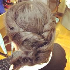 ヘアアレンジ ナチュラル 編み込み 簡単ヘアアレンジ ヘアスタイルや髪型の写真・画像