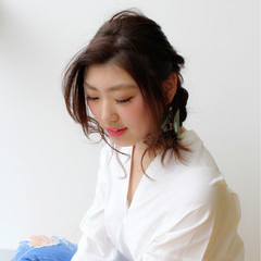 前髪あり かき上げ前髪 ラフ 簡単ヘアアレンジ ヘアスタイルや髪型の写真・画像
