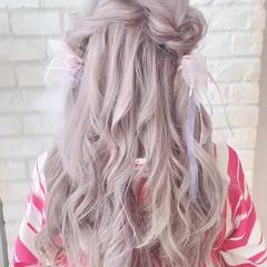 ハイトーン 大人可愛い ヘアアレンジ ガーリー ヘアスタイルや髪型の写真・画像