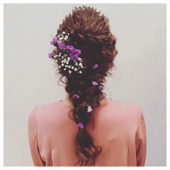 結婚式 ヘアアレンジ ガーリー ロング ヘアスタイルや髪型の写真・画像