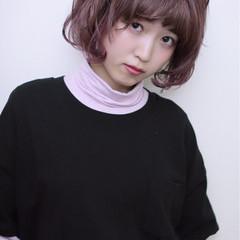 ピンク 春 ボブ デート ヘアスタイルや髪型の写真・画像