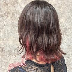 インナーカラー ナチュラル ダブルカラー 外ハネボブ ヘアスタイルや髪型の写真・画像