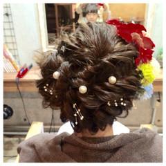 パールアクセ ヘアピン ロング ヘアアレンジ ヘアスタイルや髪型の写真・画像