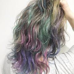 バレイヤージュ 外国人風カラー ダブルカラー ミディアム ヘアスタイルや髪型の写真・画像