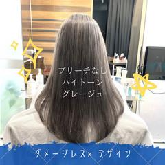 縮毛矯正 グレージュ ストレート セミロング ヘアスタイルや髪型の写真・画像