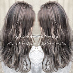 簡単ヘアアレンジ エレガント ロング バレイヤージュ ヘアスタイルや髪型の写真・画像